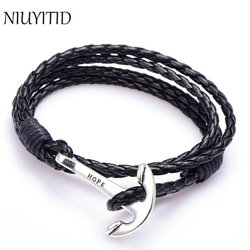 Leather Jewelry Men's Anchor Bracelet Wristband Charm - Delloi