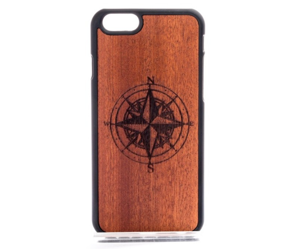 Mahogany Wood Compass Phone Cover - Delloi