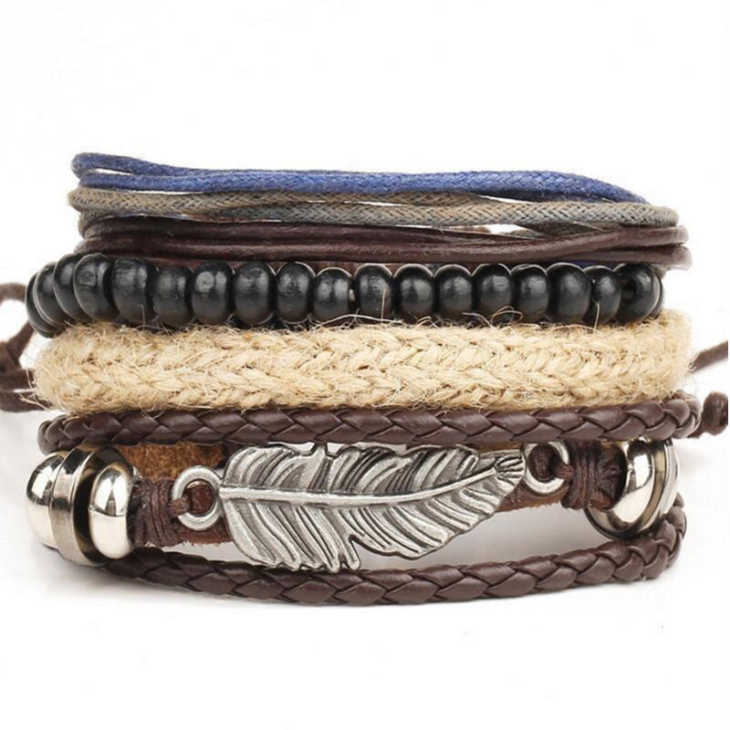 Multi - layer Braided Leather Stainless Steel Cuff Bangle Bracelet - Delloi