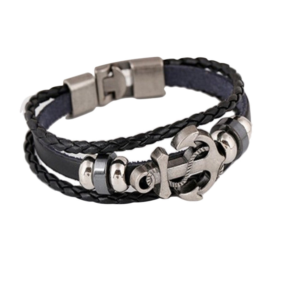 Men's Anchor Design Alloy Leather Bracelet - Delloi