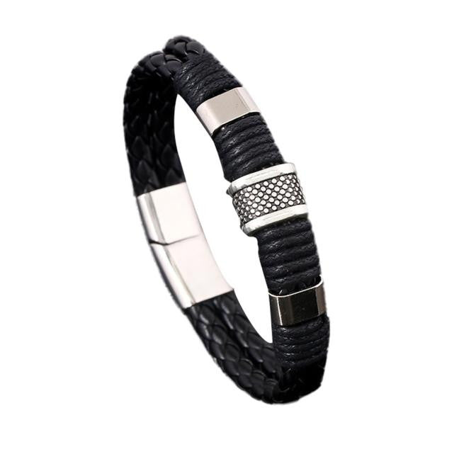 Men Stainless Steel Hand Woven Leather Bracelet - Delloi