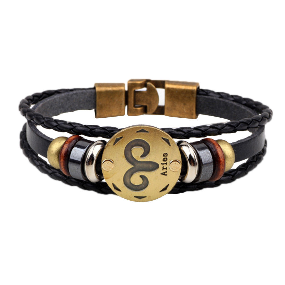 12 Constellations Leather Bracelet - Delloi