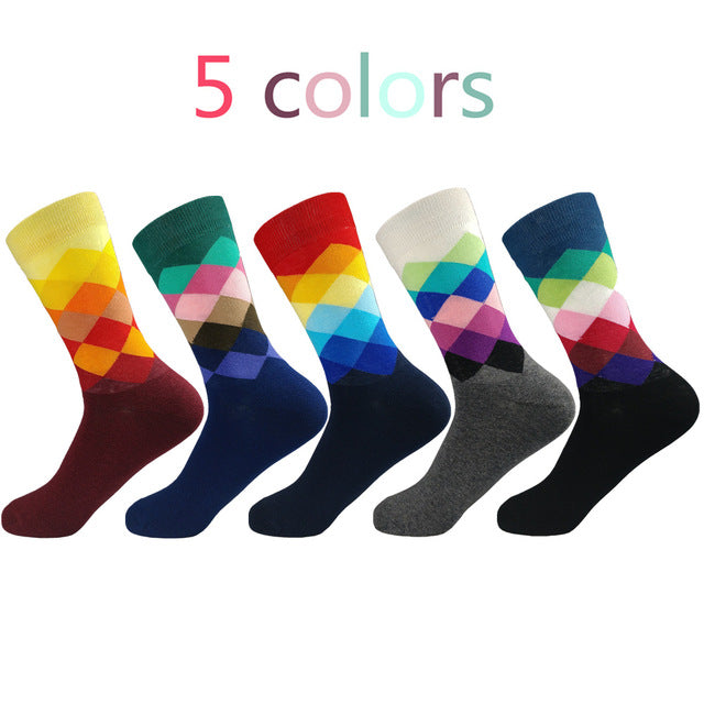 Colorful Casual High Quality Cotton Socks.  Size's 39-47  (5 pairs / batch) - Delloi