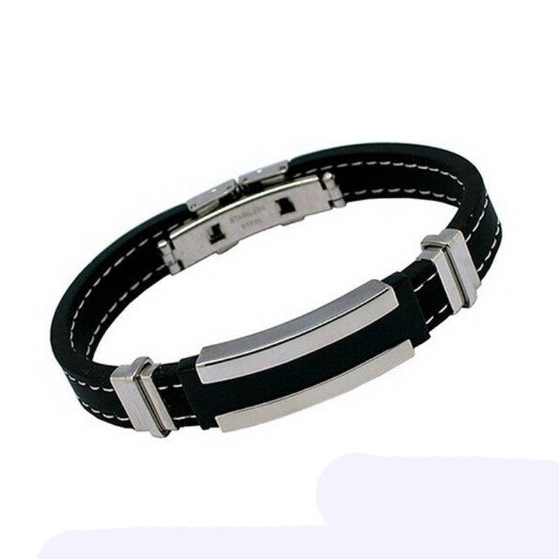 Fashionable Stainless Steel Rubber Bracelet - Delloi