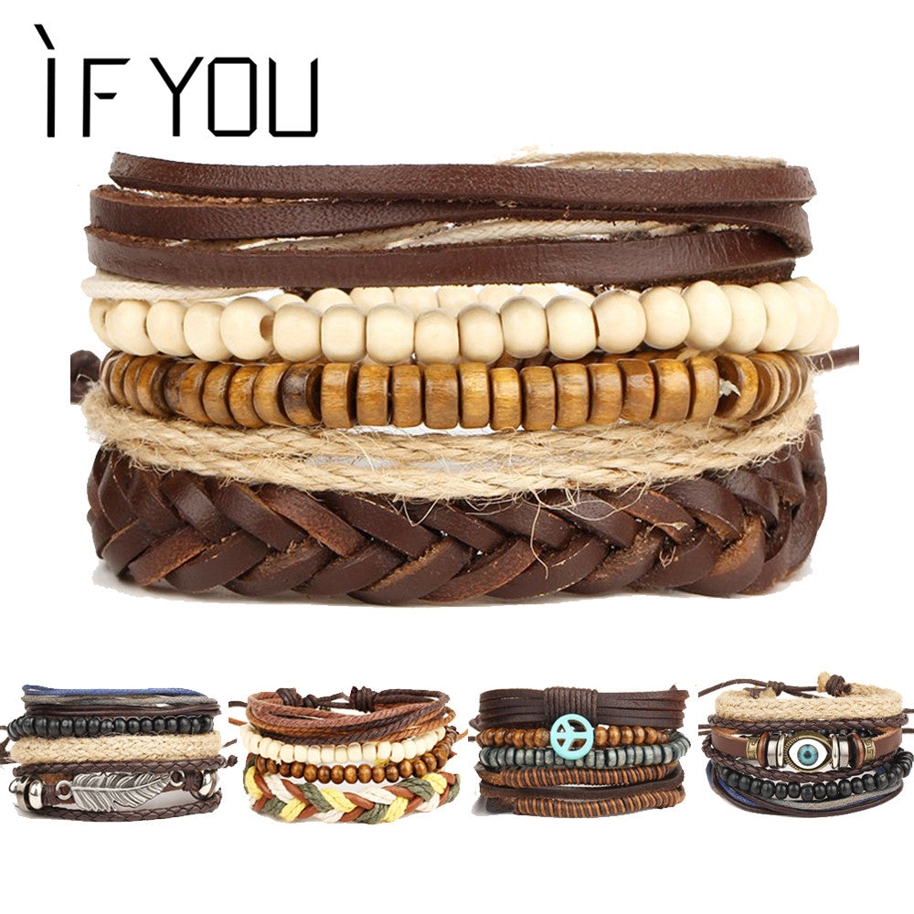 Brinco Rock Leather  Men's Bracelet Wood Bead Bracelets  Vintage Punk  & Bangles - Delloi