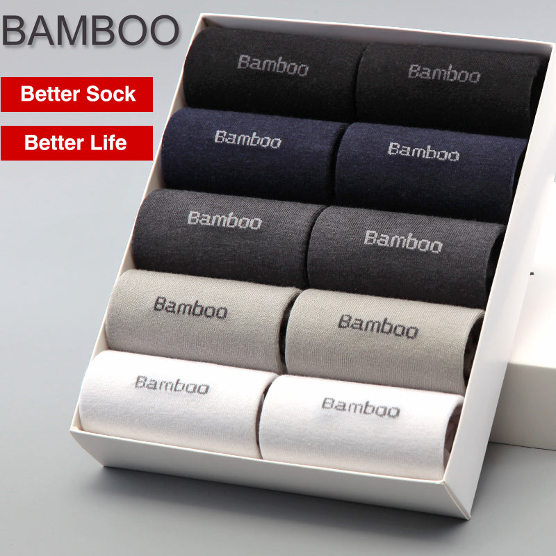 Men's Bamboo Socks Anti-Bacterial, Comfortable, Breathable Business Wear (10 Pairs / Lot) - Delloi