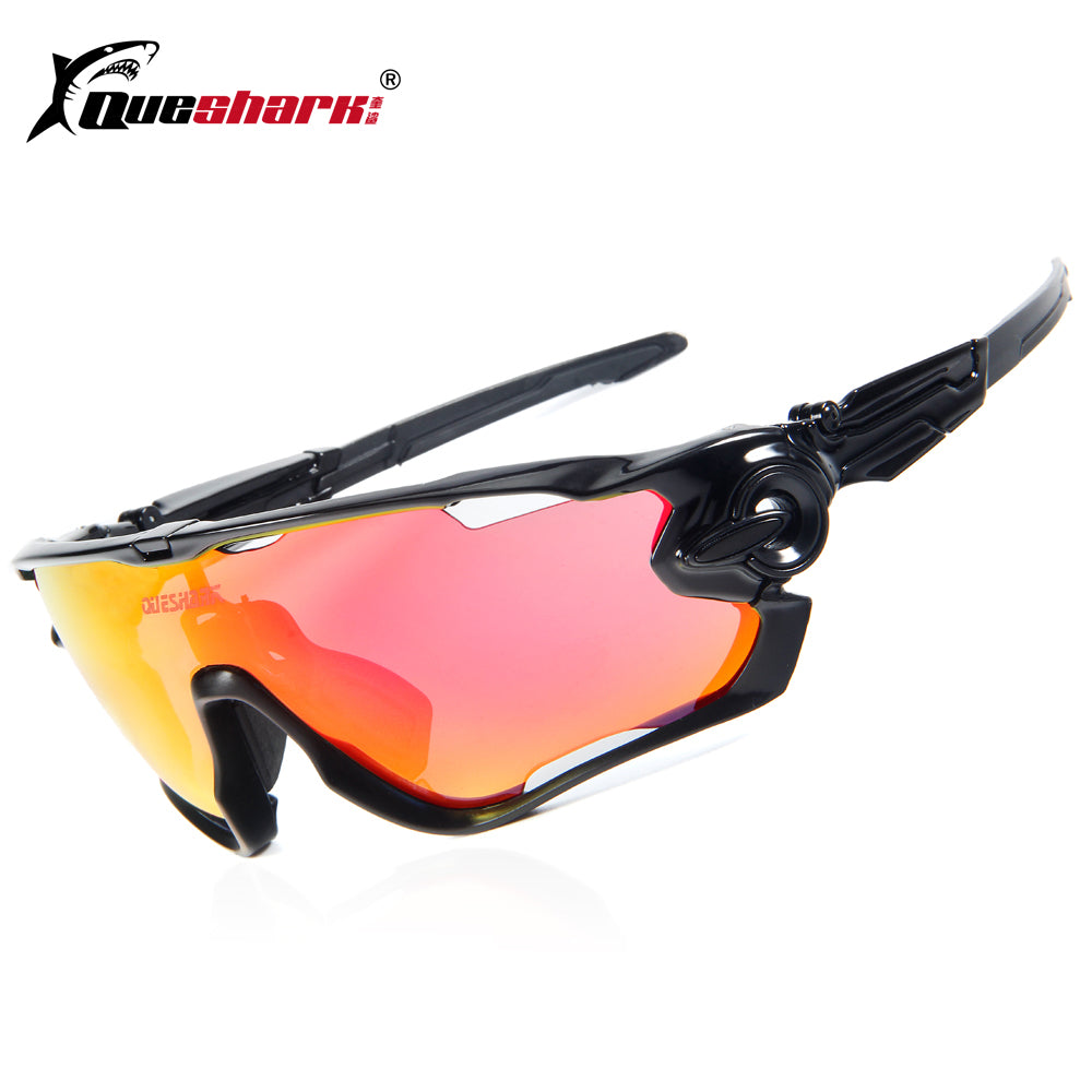 Queshark Brand Tour De France Polarized Cycling Sunglasses 3 Pair Lens Full Red - Delloi