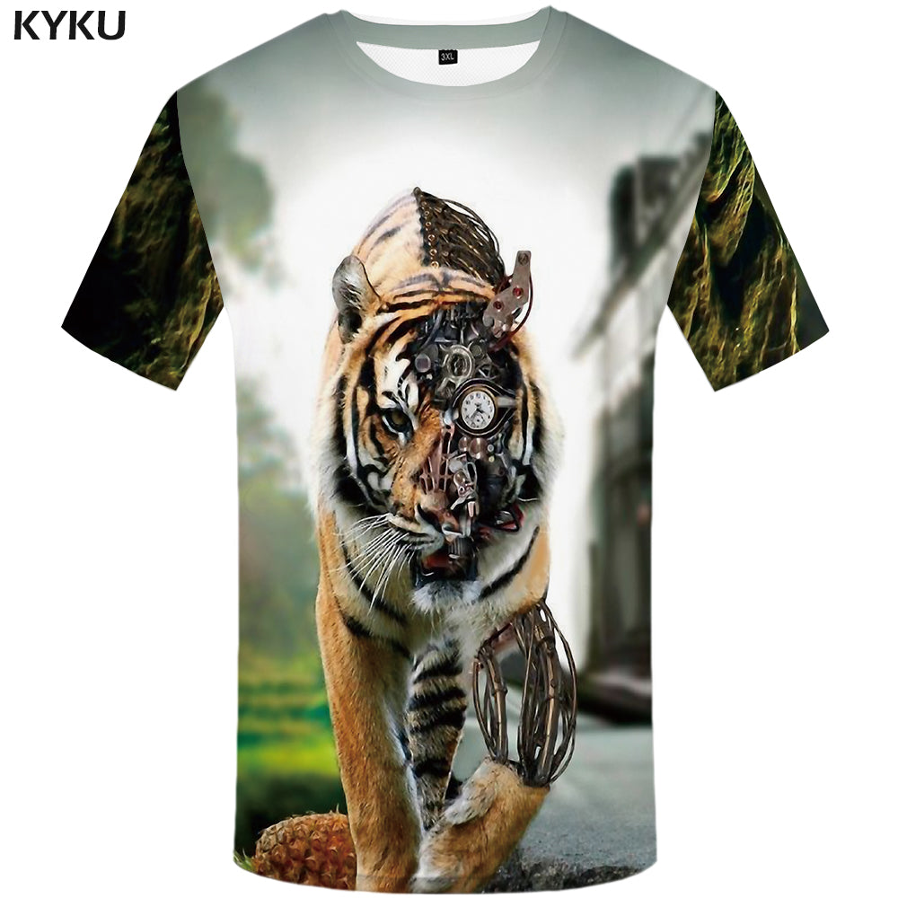 Tiger T shirt Animal 3-D T-shirt's - Delloi