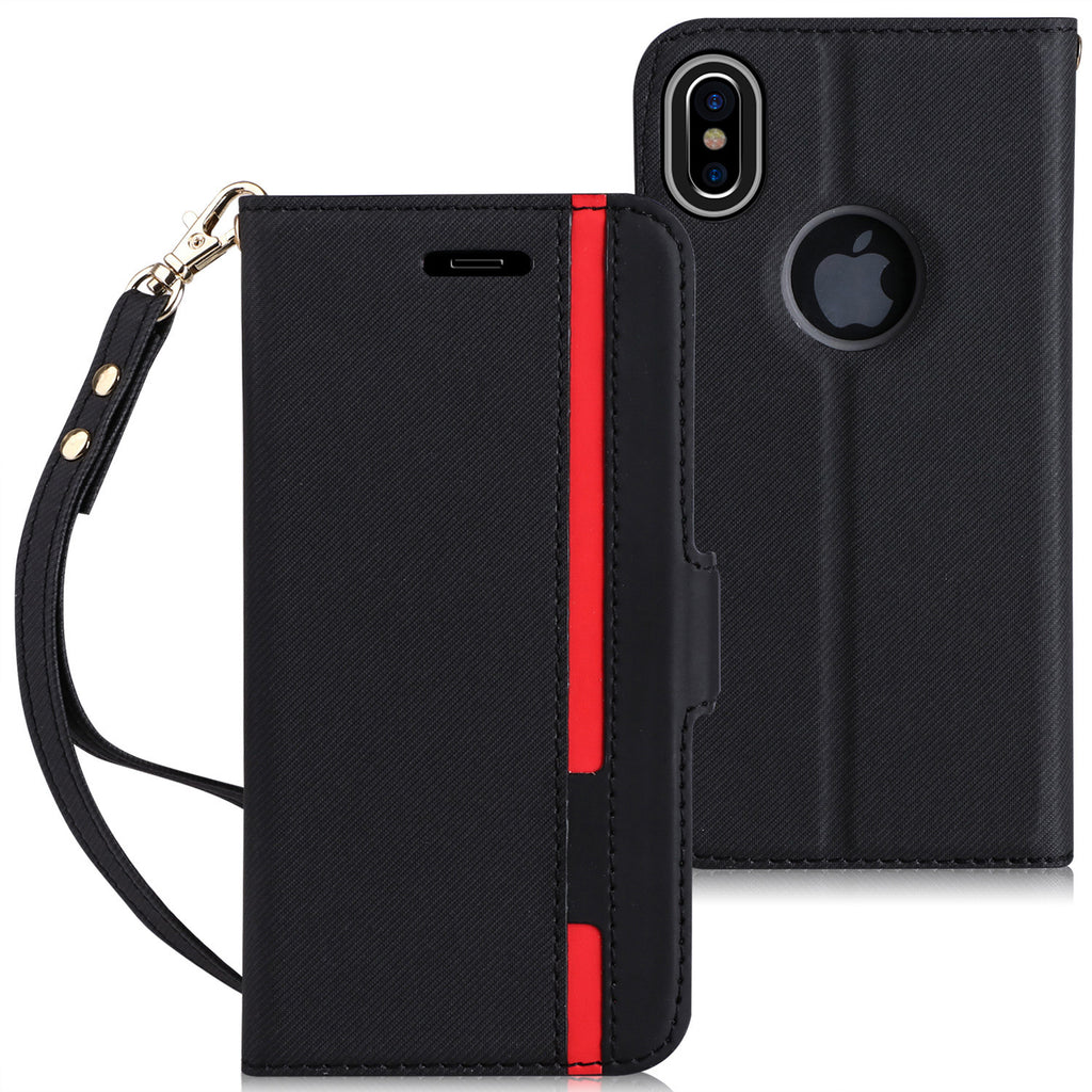 Apple iPhone X Wallet Case. Premium  Leather Wallet Case with Hand Strap and Kickstand Function. - Delloi