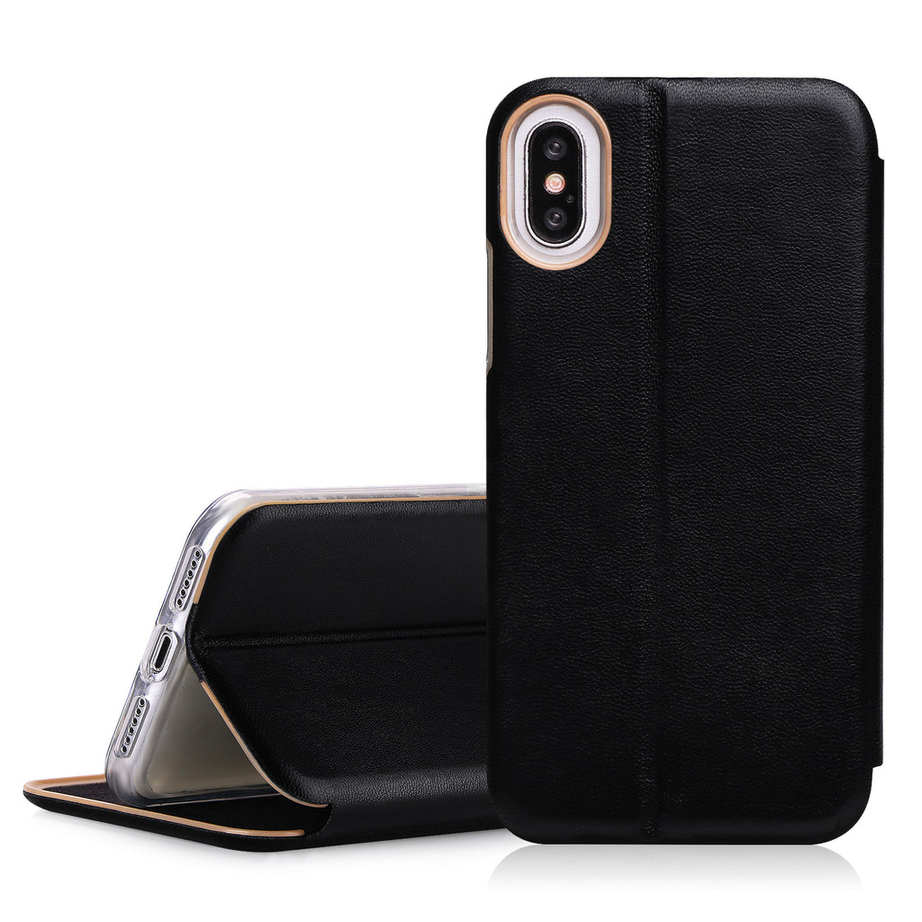 iPhone X Case. 100% Handmade Genuine Leather Wallet Case with Card Slot and Kickstand Function - Delloi