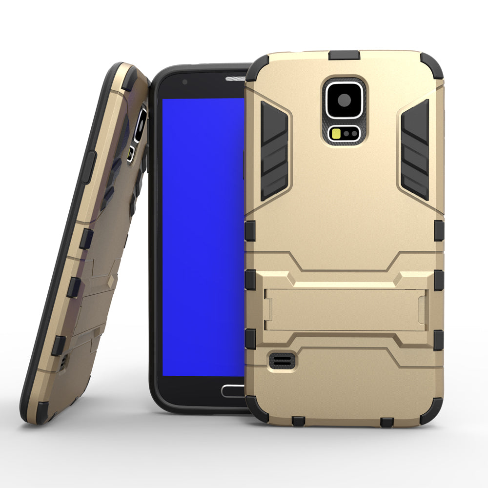 Armor Case for Samsung Galaxy S5 I9600.  Heavy Duty Hybrid Hard Rugged Silicone Rubber with Stand Function - Delloi