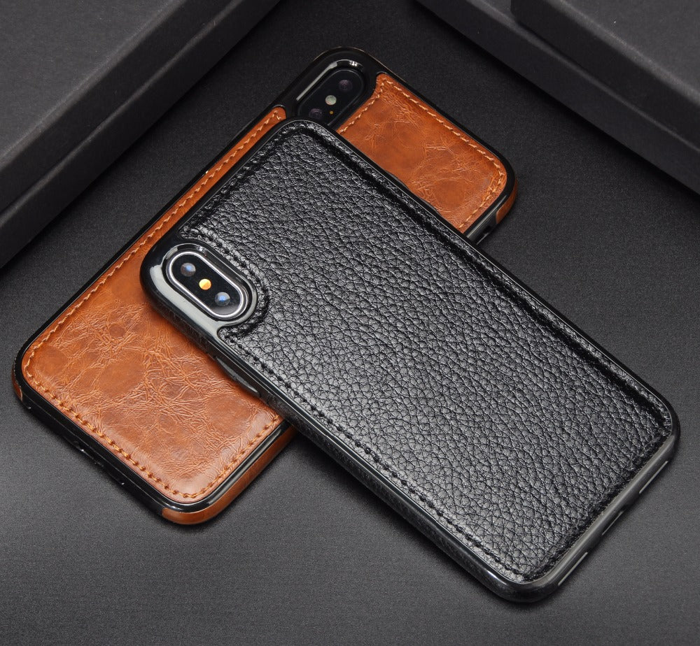 iPhone X  Luxury Men's Business Leather Magnetic Cell Phone Case - Delloi