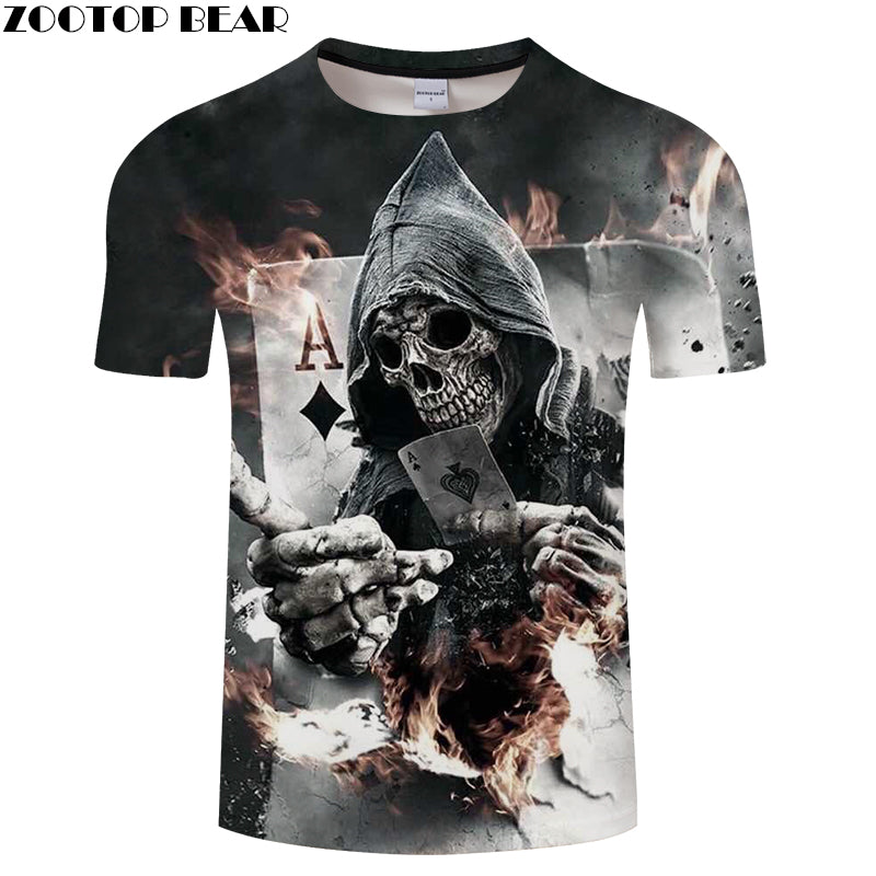 Skull Poker 3D Printed Men's T-shirt .  Short Sleeve  ZOO TOP BEAR - Delloi