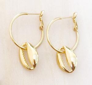 Gold Shell Ear Hoops