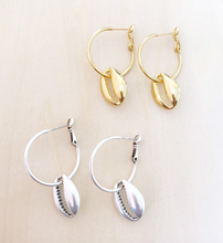 Silver Shell Ear Hoops