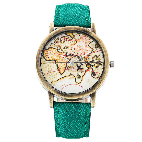Fashion Global Plane World Map Denim Fabric Band Watch Casual Women Wristwatches Jeans Quartz Watch  Relogio Feminino Gift 1968