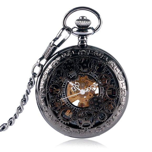 Half Hunter Hand Wind Steampunk Luxury Wind Up Wheel Mechanical Pendant Pocket Watch Women Men Gear Chain Black bayan kol saati