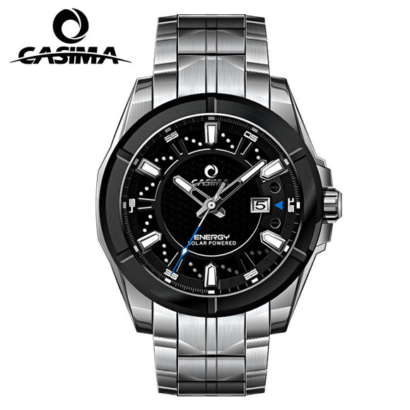 CASIMA fashion watch top luxury brand man watch stainless steel solar charge light light waterproof 100Bar quartz watch