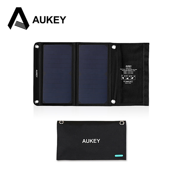 AUKEY 14W Portable Foldable Solar Charger with 2 USB Ports and High Efficiency SunPower Solar Panels for iPhone, Android