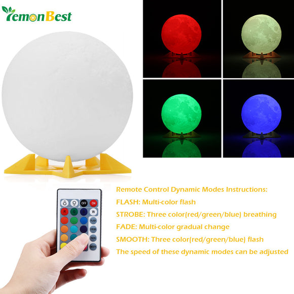 Lemonbest 3D RGB Print LED Moon Light Magical Night Light Desk Lamp USB Rechargeable for Home/Partybulb Christmas Decoration