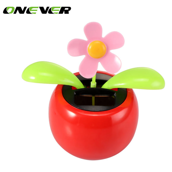 Onever Dacing Solar Flower Car Decor Solar Powered Happy Dancing Flower