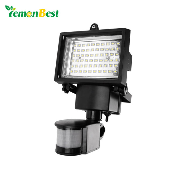 Motion Sensor LED Solar Garden Light 60 LEDs Outdoor Lighting PIR Body Solar Power Panel Lamp for Square Highway Outdoor Wall