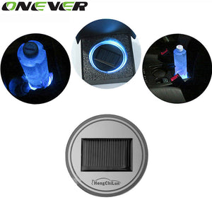 Universal Car Styling Solar Power Energy Blue LED Car Interior Decoration Light Cup Coaster Mat Non Slip Pad Car Accessories