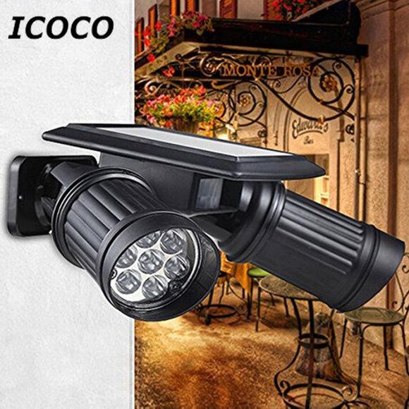 ICOCO Solar Powered LED Dual Head Human Body Induction Motion Sensor Spotlight Wall Mounted Night Light  Waterproof IP44 Sale