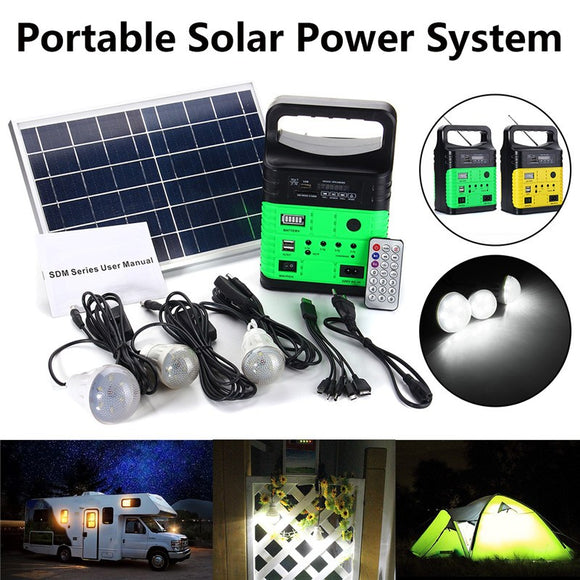 Mising Portable Solar Generator Outdoor Power Mini DC6W Solar Panel 6V-9Ah Lead-acid Battery Charging LED Lighting System