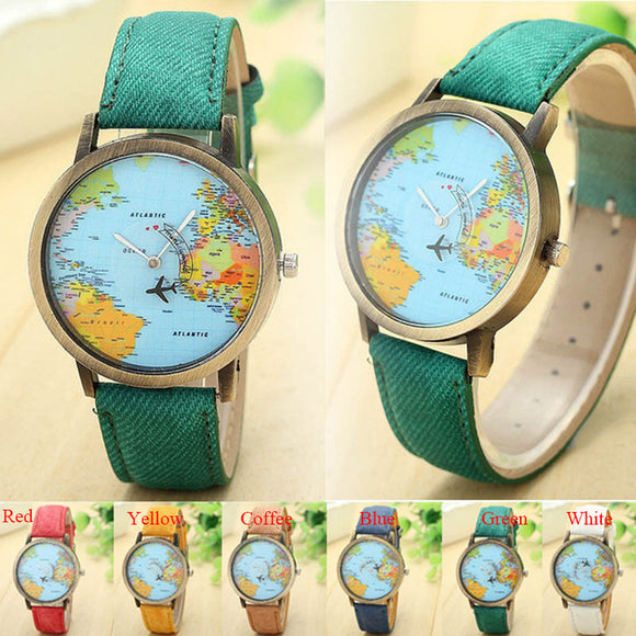 Vintage Women World Map Global Women Dress Watch Denim Fabric Band Relojes Mujer 2016 Ladies Relojes