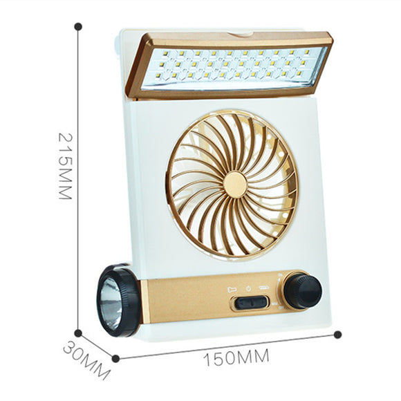 4 in 1 Portable solar 220V electric charging fan 1200mA battery rechargeable fan 5V mini multi-functional LED lamp flashlight