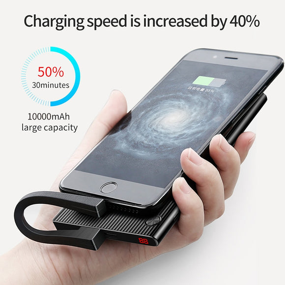 Baseus Portable 10000mAh Power Bank Dual USB LCD Powerbank Slim External Battery Charger For iPhone X 8 7 Mobile Phone Poverbank