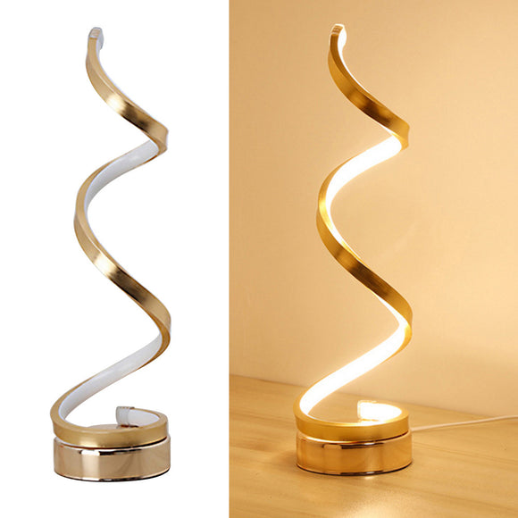 Acrylic LED Table Lamp Modern Spiral Design Minimalist Dimmable Warm White