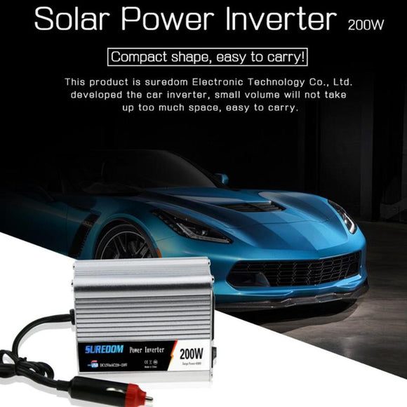200W Solar Car Inverter DC 12/24V to AC 110/220V Sine Wave Power Converter Power Supply Pure Sine Wave Solar Power Inverter New