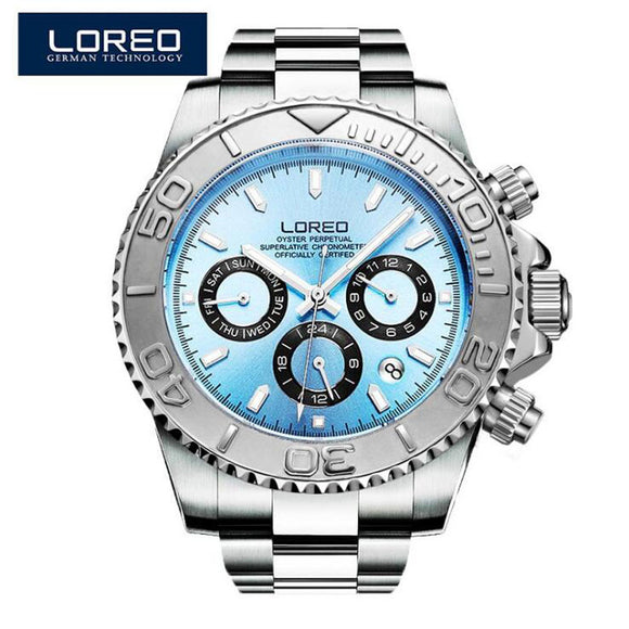 LOREO Diving series Men Wrist Watch Top Luxury Brand 200M Waterproof Steel Watchband Male formal Sports Geneva Quartz Clock