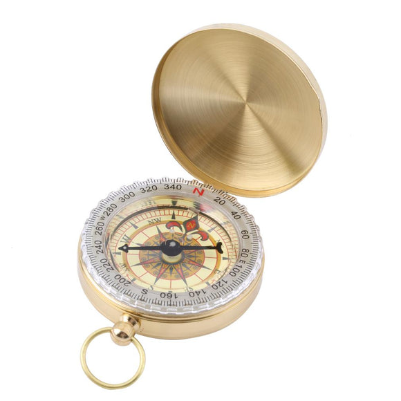 Outdoor Hiking Camping Accessories Classic Brass Pocket Watch Style Camping Compass Hiking