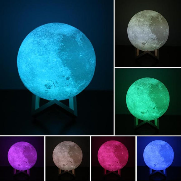 Moon Lamp LED Light 3D Print USB Moonlight 7 Colors Changeable Touch Switch Night Light for Home Christmas Gift