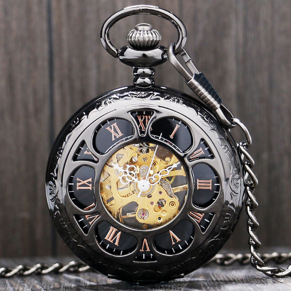 Luxury Steampunk Mechanical Pocket Watch Silver/Black Hollow Flower Steel Hand Wind Men Women Pendant Fob Chain Birthday Gifts