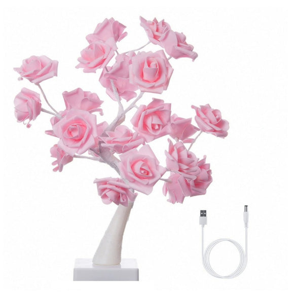 Rose Flower Tree Table Lamp 24 LEDs Flower Desk Lamp Home Bar Hotel Holiday Party Wedding Decoration Warm White Night Light Drop