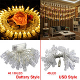 40 / 50 LED Card LED Photo Clips String Lights Fairy String Lights Battery Operated USB Ideal Gift for Bedroom Decoration
