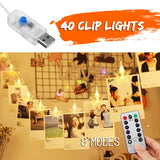 6M 8 Modes USB Remote Control Wall Photo Clip Hanging Fairy String Light Christmas Decor Light 40LED Star Wedding Party Outdoor