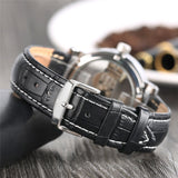 Luxury Hollow Automatic Watch Mechanical Men Black Leather Wrist Watches Transparent Skeleton Business Casual Self Wind Clock