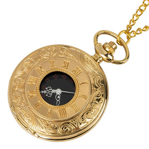 Golden Men Women Pocket Watch Full Double Hunter Mechanical Pocket Watches Engraved Roman Numerals Gold Hand Wind Pocketwatch