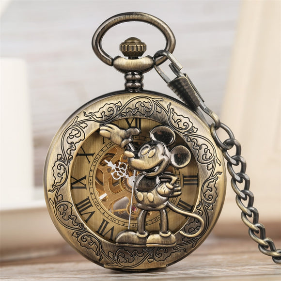 Classic Retro Mickey Mouse Display Mechanical Hand Wind Pocket Watch  Bronze Pendant Clock Roman Numeral Dial New Arrival 2019