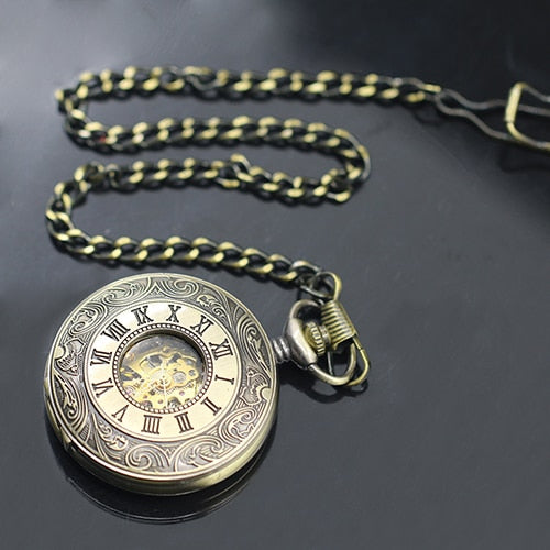 Unisex Vintage Hollow Carved Roman Numerals Case Mechanical Pocket Watch Gift
