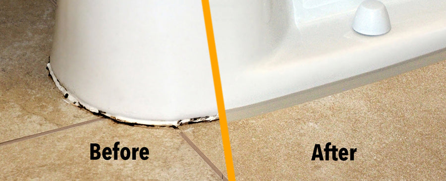 Toilet base caulking before and then after using beige instatrim flexible trim strips..