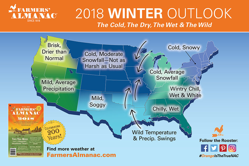 2018 Weather Map from Farmer's Almanac