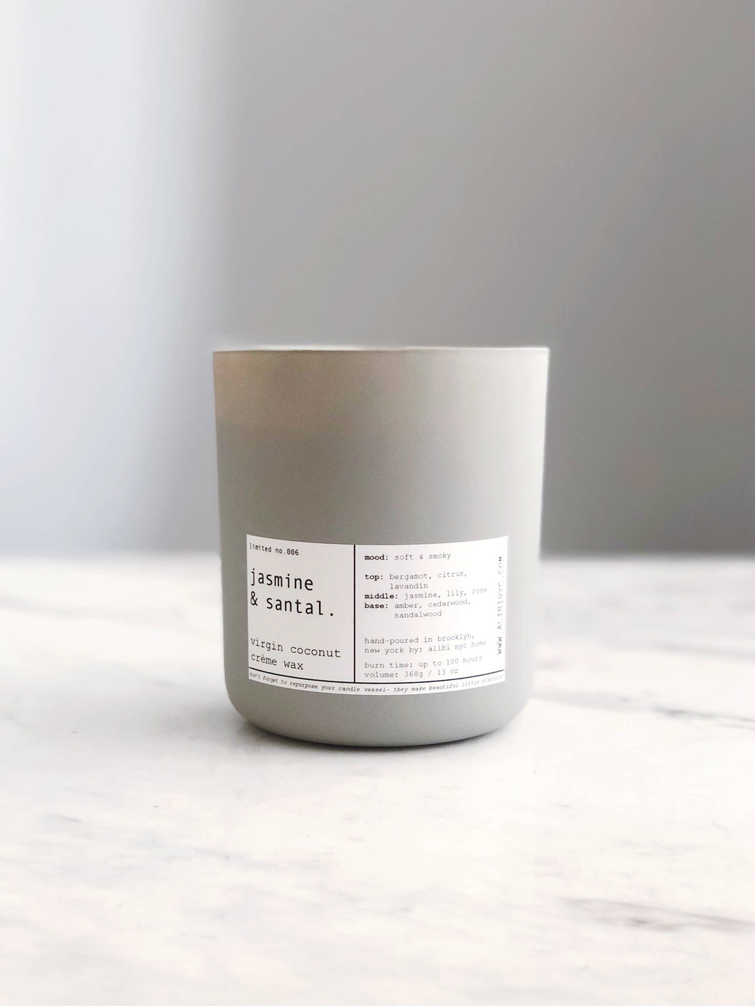 ALIBI NYC - JASMINE + SANTAL | VIRGIN COCONUT CRÈME & WOODEN WICK CANDLE
