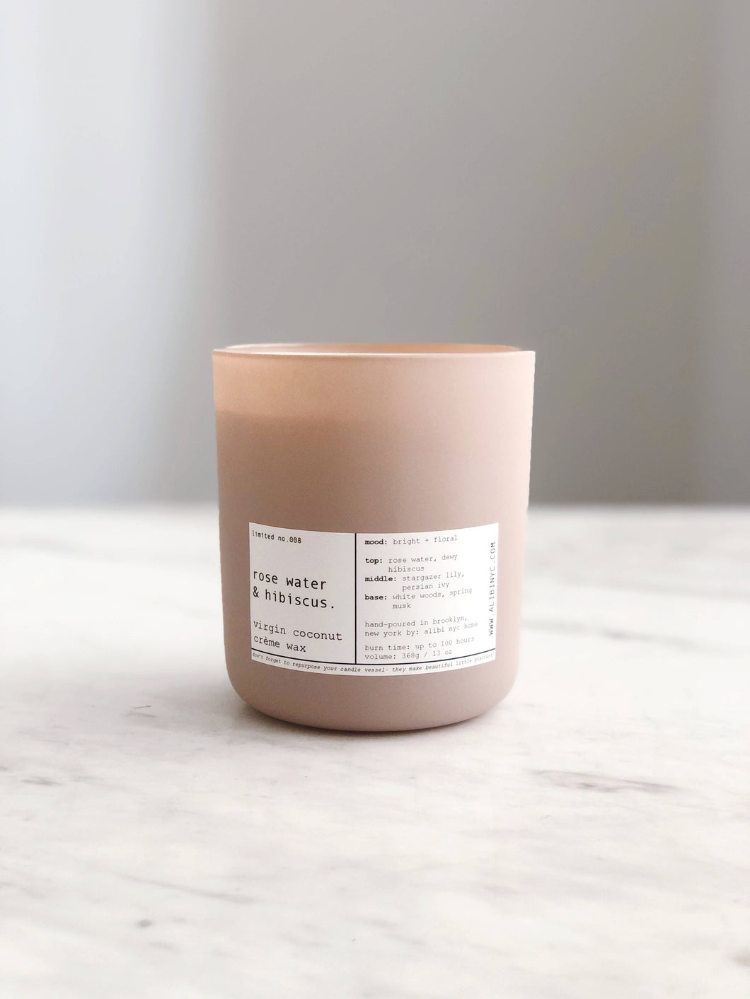 ALIBI NYC - ROSE WATER & HIBISCUS | VIRGIN COCONUT CRÈME CANDLE