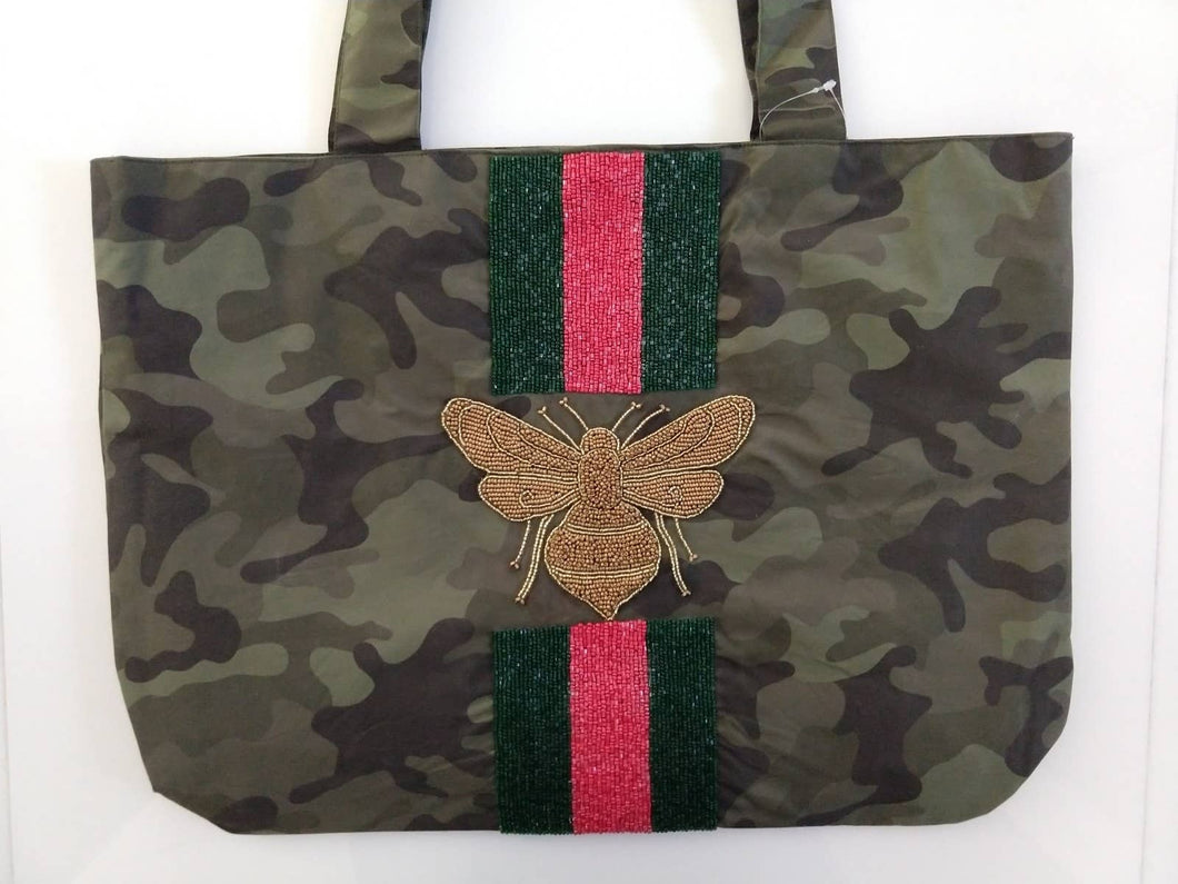 Beaded Stripe Tote Bag Camo - Bee